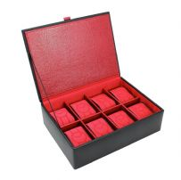 Dulwich Designs 70910 Black 8 Piece Watch Box With Red Lining